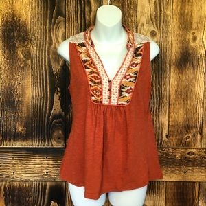 Akemi + Kin - Burnt Orange Tribal Evie Tank - M